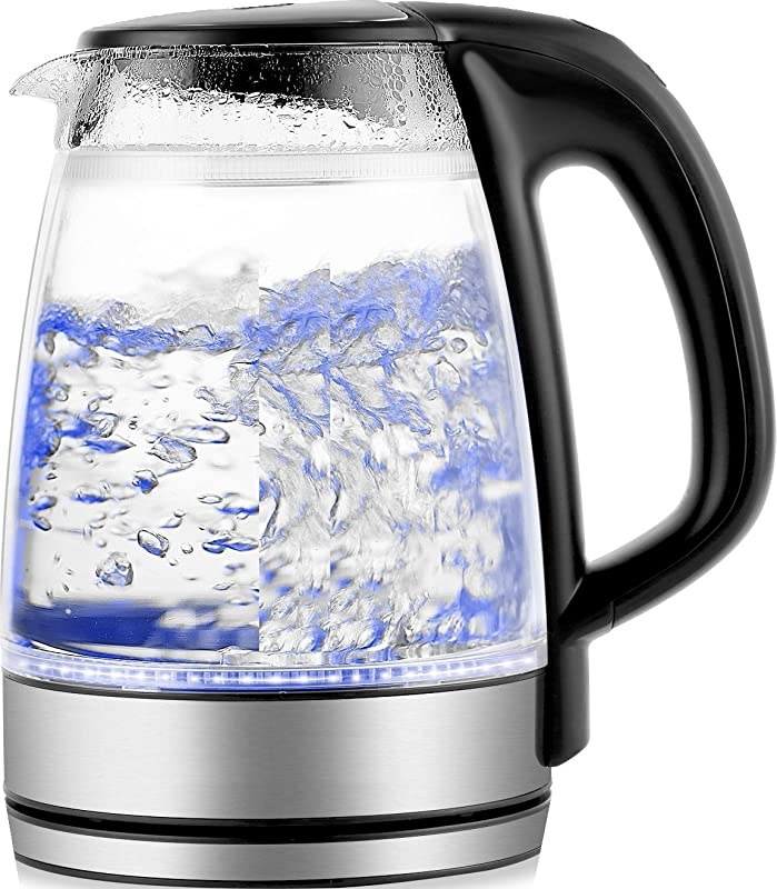 Cordless Electric Glass Kettle LED Blue Light 1 7 Liter Capacity 1100 W Fast Boiling