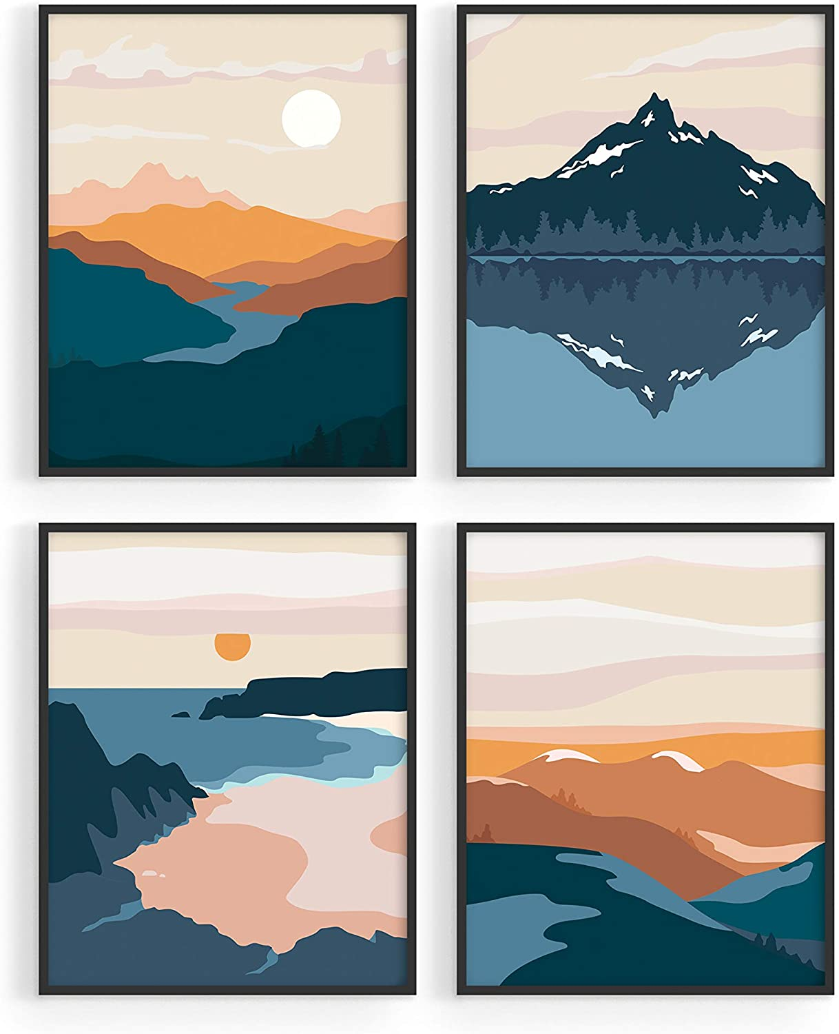 Nature Wall Art Prints Landscape Mountain Decor   by Haus and Hues    Mid Century Wall Art   Modern Wall Decor Mountain Wall Art   Mountain Art  Wall ...