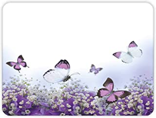 Mor Çiçek ve Kelebekler | Cam Kesme Tahtası (30cm x 40cm)