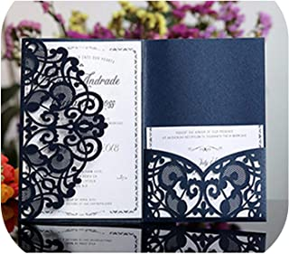 1Pcs Blue White Elegant Laser Cut Wedding Invitation Cards Greeting Card Customize Business with RSVP Cards Decor Party Supplies,Cover and Inner Card,OneSize
