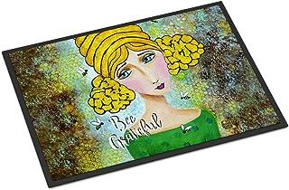"""Caroline's Treasures Bee Grateful Girl with Beehive Indoor or Outdoor Mat 18x27 VHA3008MAT, 18"""" x 27"""", Multicolor"""