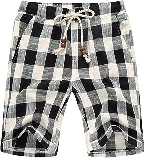 Men's Summer Casual Linen Drawstring Striped Beach Shorts