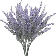 Bird Fiy Artificial Flowers Artificial Flocked Lavender Bouquet in Purple Flowers Arrangements Bridal Home DIY Floor Garden Office Wedding Décor/4 Bundle(Purple)