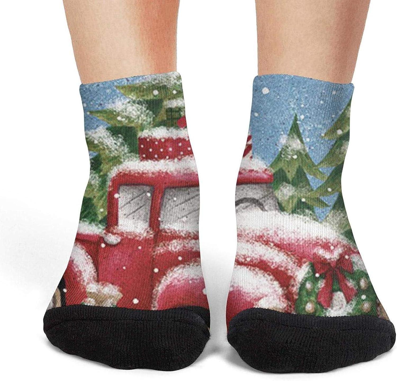 XIdan-die Womens Athletic Crew Socks Red christmas truck Moisture Wicking Casual Socks