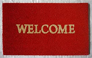 NACH FW-8184 Classic Durable Hygienic Welcoming Doormat, Natural Coconut Coir, 18 x 30 Inches, Welcome Rust, Red & Brown