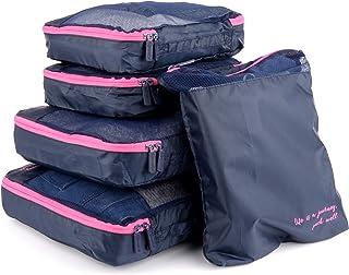 Miamica Women's Packing Cubes, Travel Organizer, 5-Piece Set, Navy