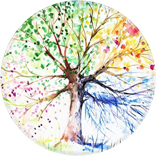 LEEVAN Art Deco Pattern Non-Slip Backing Machine Washable Round Area Rug Foam Mat Living Room Bedroom Study Children Playroom Super Soft Carpet Floor Mat Home Decor 3-Feet Diameter, Four Season Tree