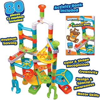 Playmind Marbutopia Slide-Maker Set (80 pcs) Best Marble Run STEM Toy for Kid Education