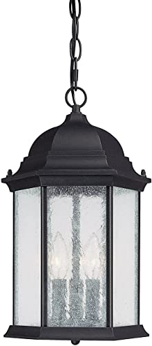 new arrival Capital discount new arrival Lighting 9836BK Hanging Lantern with Seeded Glass Shades, Black Finish outlet online sale