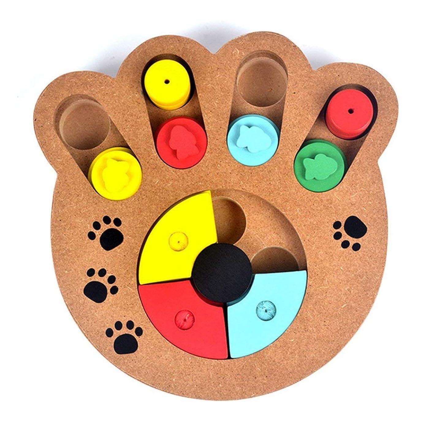 拘束野心教養があるSaikogoods 多機能の自然食品は 子犬犬猫ペット用品のための木製教育ポウパズルインタラクティブ玩具扱い マルチカラーミックス