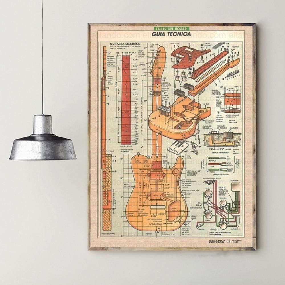 SYXMSM Cartel De Seda Sintonizador De La Guitarra del Hogar del Arte Decorativo De 60x90cm De La Sala (Color : 1, Size : 40x60cm)