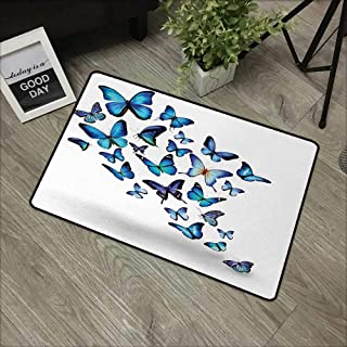 Bathroom Door mat W24 x L35 INCH Butterflies,Group of Flying Butterflies Natural Botanic Parks Springtime Festive,Blue Sky Blue Black Easy to Clean, no Deformation, no Fading Non-Slip Door Mat Carpet