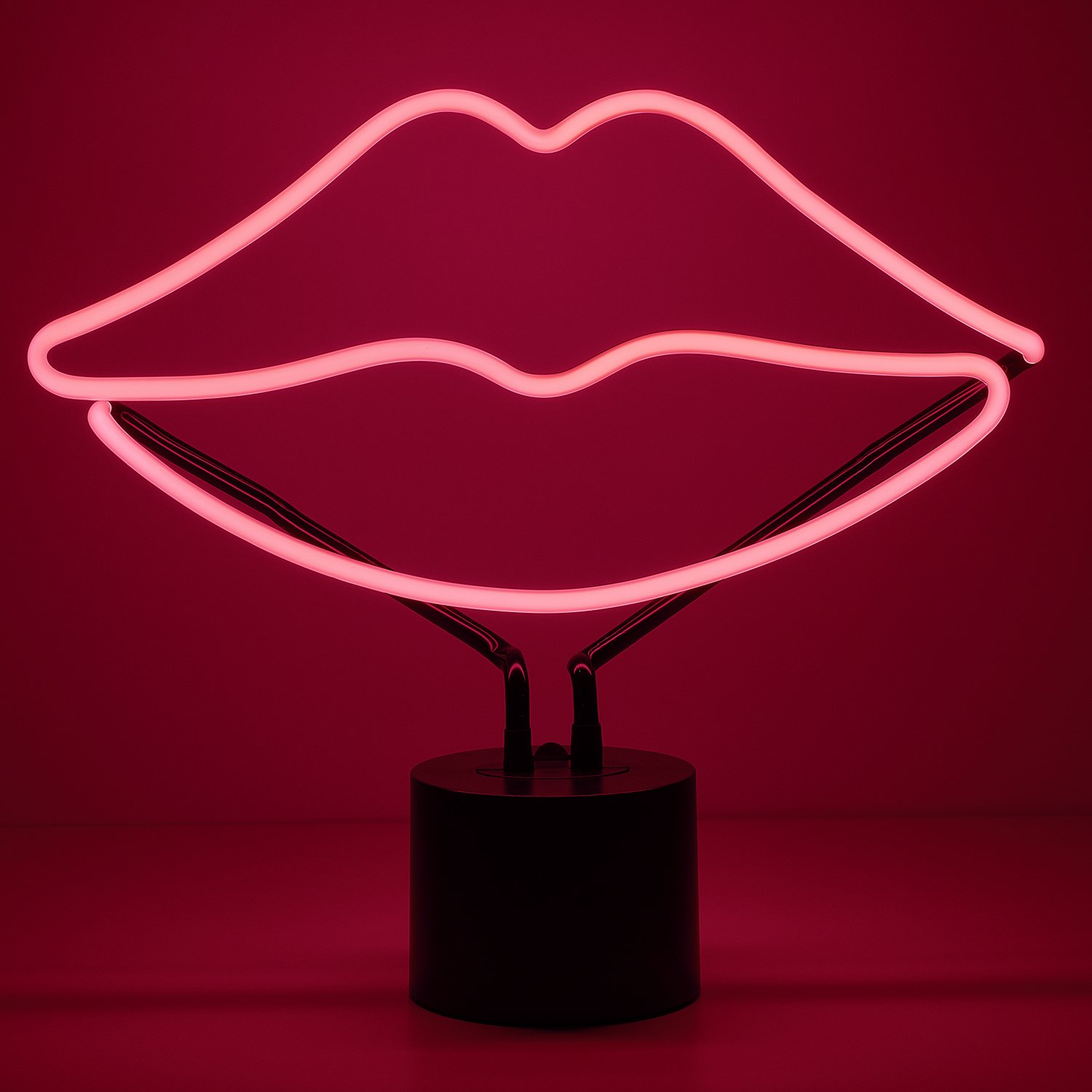 Large 12 x 13.5 inches Amped /& Co Lips Neon Desk Light Real Neon Home Decor Neon Signs For Unique Rooms Pink