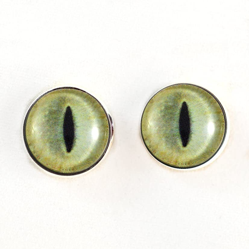 10mm Sew On Pale Yellow Realistic Cat Glass Eyes Shank Buttons with Loops - for Staffed Animals, Plushie Toys, Art Dolls, Jewelry Making, Taxidermy, and More