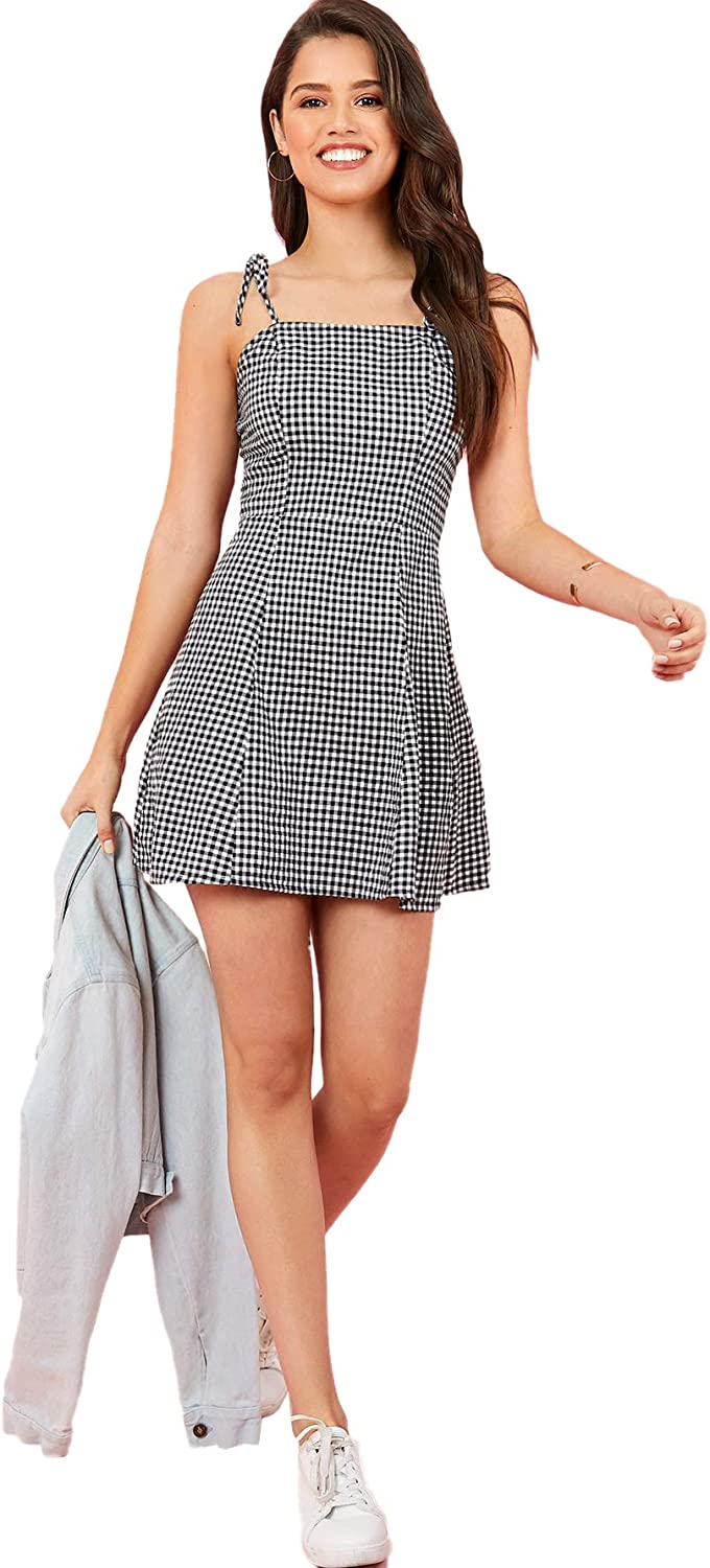 90s Clothing Outfits You Can Buy Now SweatyRocks Womens Spaghetti Strap Lace Up Back Casual Short Mini Gingham Dress  AT vintagedancer.com