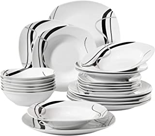 VEWEET 24-Piece Porcelain Dinnerware Sets Black Stripe Patterns Kitchen Dinner Soup Plate Sets, Service for 6 (Fiona Series)