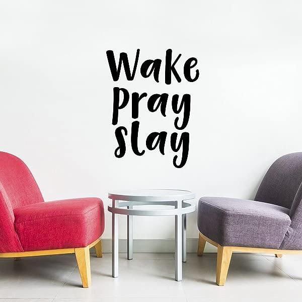Vinyl Wall Art Decal Wake Pray Slay 23 X 18 Decoration Vinyl Sticker Motivational Religious Wall Art Decal Bedroom Living Room Office Decor Trendy Wall Art Positive Quotes