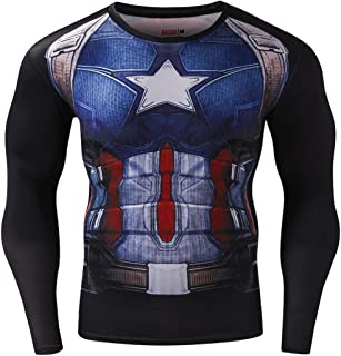 Men's Compression Sports Shirt Captain US Skin Clothes Running Long Sleeve Tee