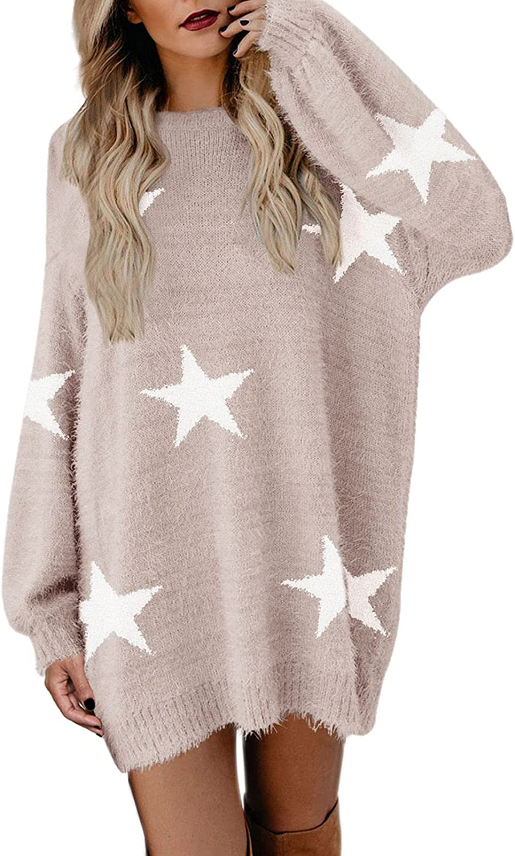 Meenew Women's Furry Crewneck Oversized Loose Long Pullover Sweater Dress
