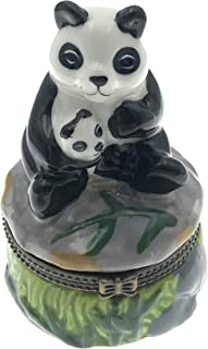 Art Gifts Porcelain Panda Bear Holding Cub Hinged Lid Trinket Box with Tiny Trinket Inside, 3 Inches Tall.