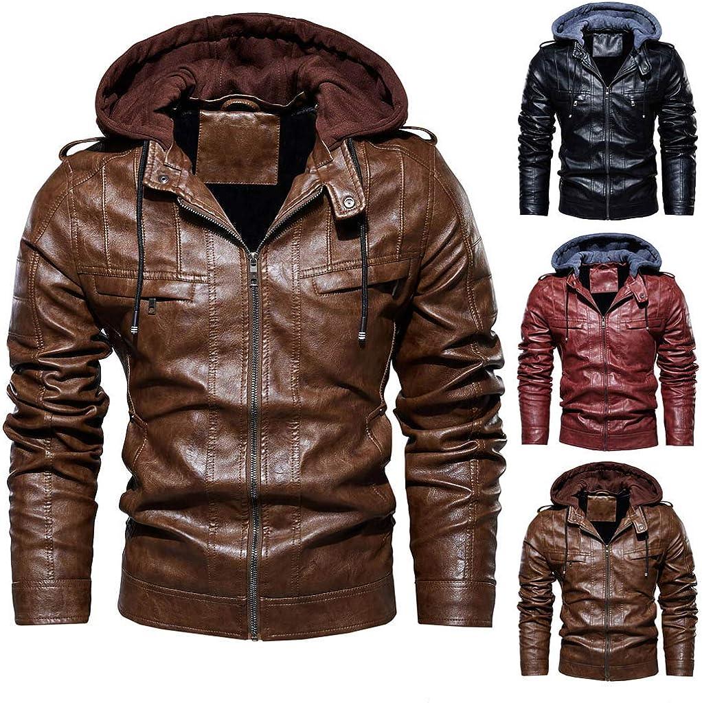 Men Leather Jackets,Vintage Classic Leather Zip Up Biker Bomber Jacket V1798