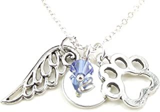 LaFenne Personalized Paw Print Angel Wing Necklace with Custom Initial Swarovski Crystal Pet Loss Memorial Gift