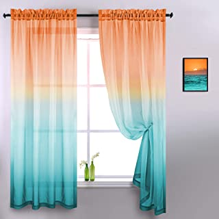 Decorative Sheer Curtains for Bedroom 2 Panels Home Decor Sunset Beach Harvest Autumn..