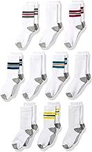 Amazon Essentials Boys' 10-Pack Cotton Varsity Crew Sock