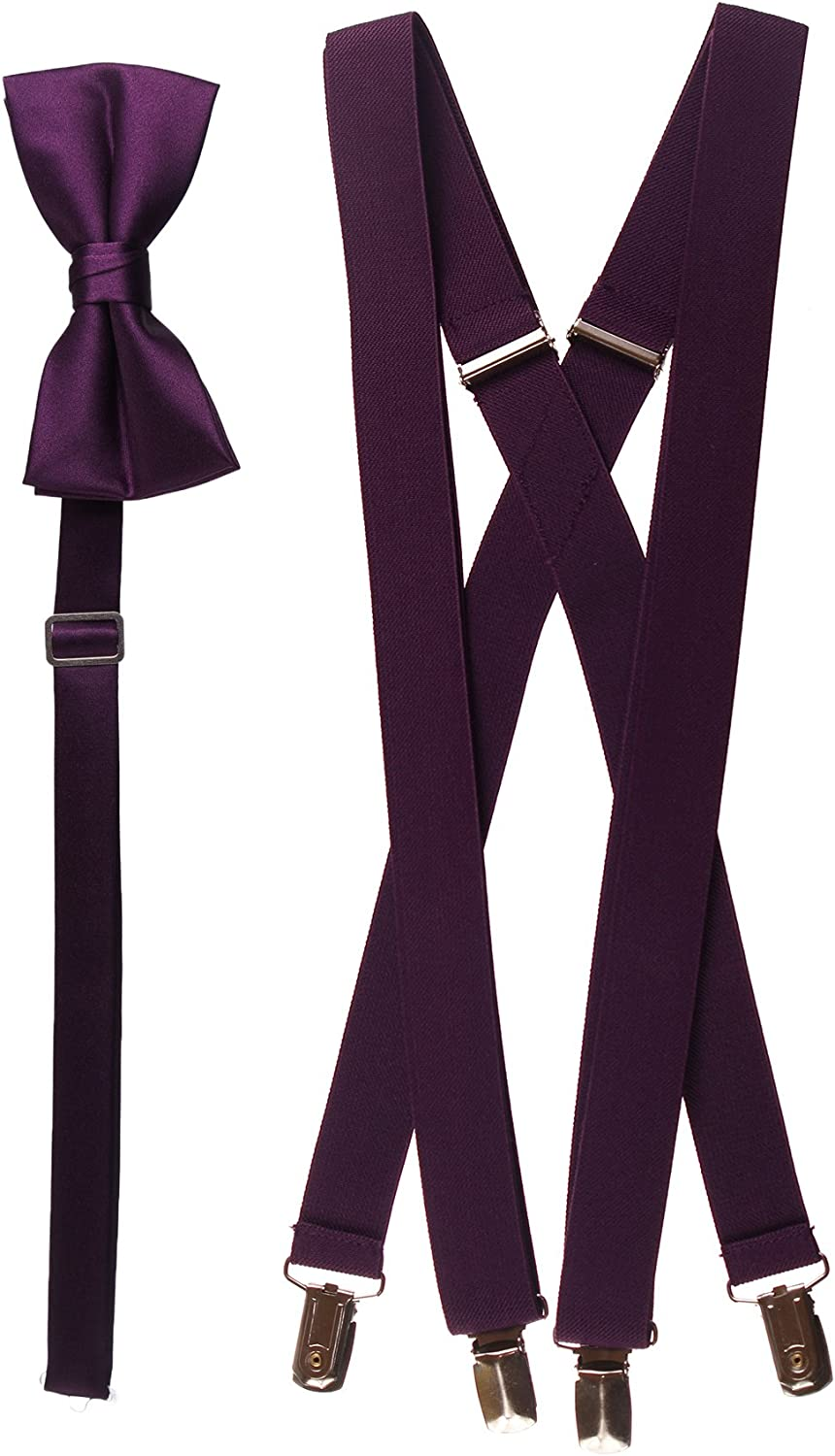 Adults Berry Adjustable Suspender and Bow Tie Set