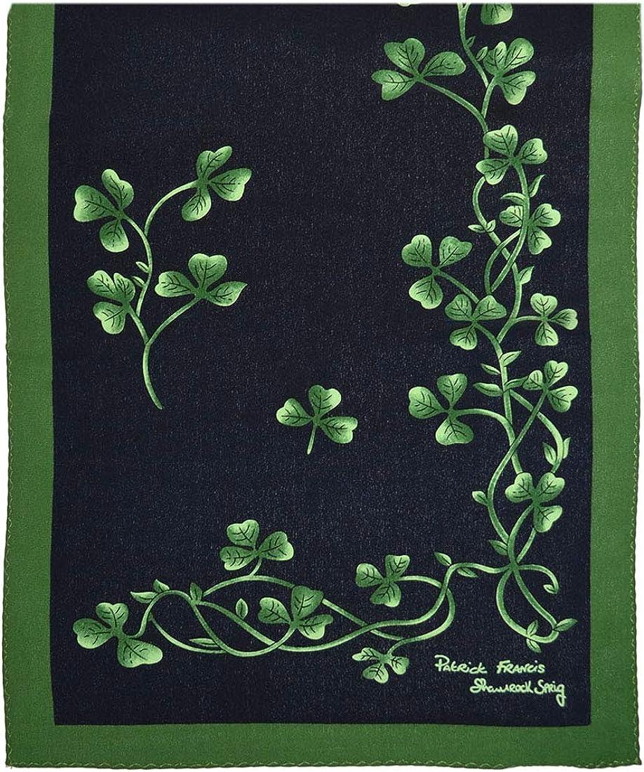 Patrick Francis Navy & Green Shamrock Sprig Silk Scarf