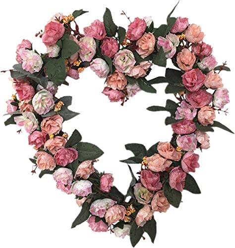 popular 14 Inch Rose Flower Heart Wreath Valentines Day Decor, Peony Flowers Garland Wreath, Handmade Home Decor for online sale Valentine's Day Christmas Party, new arrival Simulation Rose Flowers Wreath Ornament sale