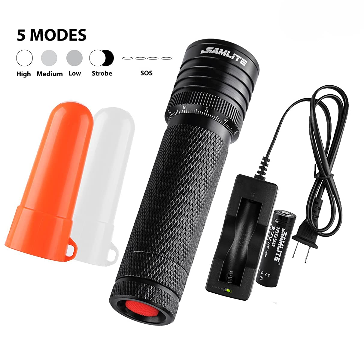 SAMLITE - LED Flashlight Tactical Military Grade, Super Bright 460 Lumens, Cree-T6, Water Resistant, Adjustable Focus Zoom Light, Life of up To 100,000 hours, White and Red Diffuser Included