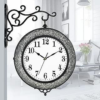 JJJJD ダブルサイドウォールクロックヴィンテージステーションクロックアイアンブラケットウォッチグラスモザイクヴィンテージ時計、シルバー/ブラック