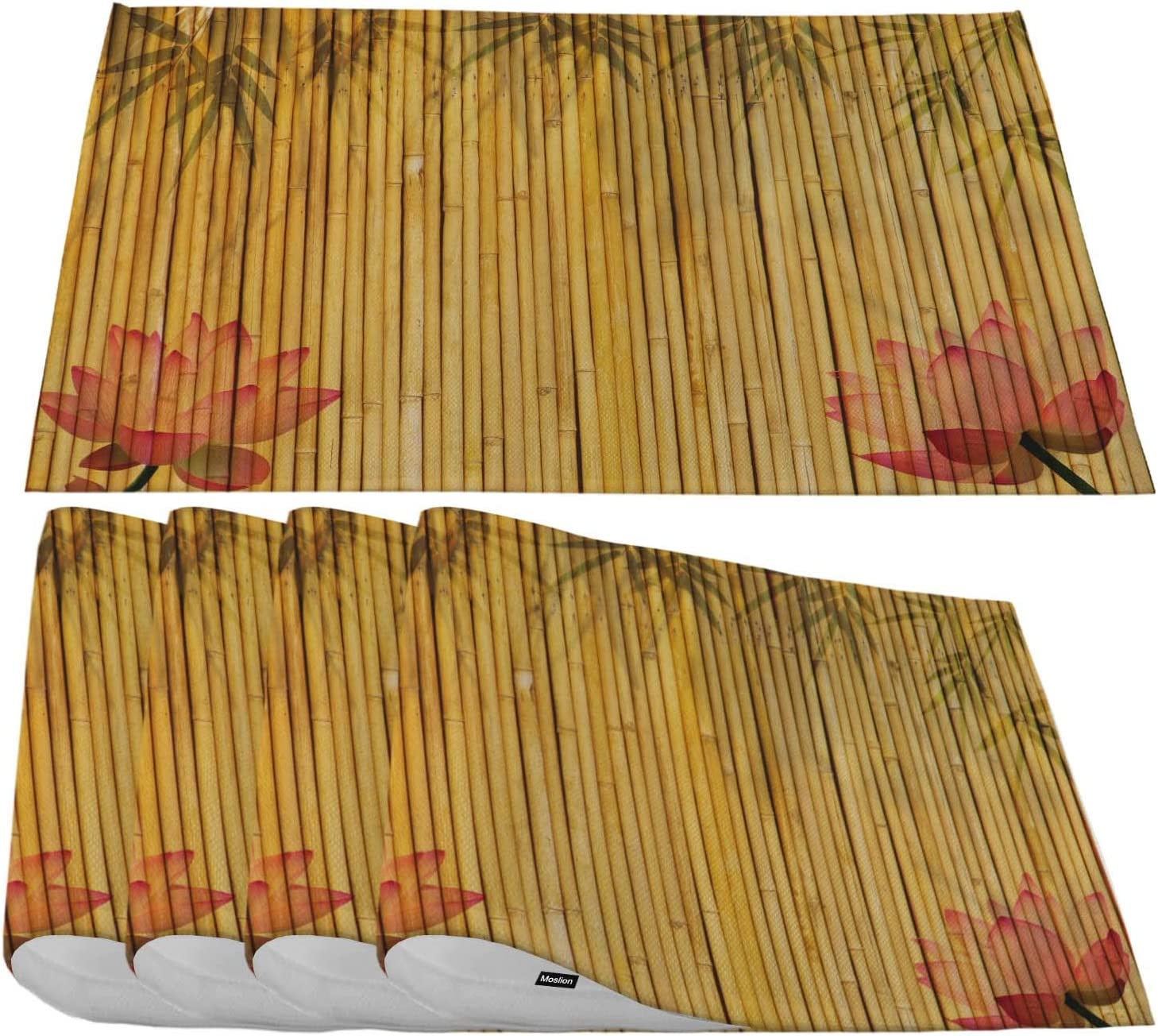 Moslion Bamboo Placemats Asia OFFer Beauftil Bloom and Sales of SALE items from new works P Leaves