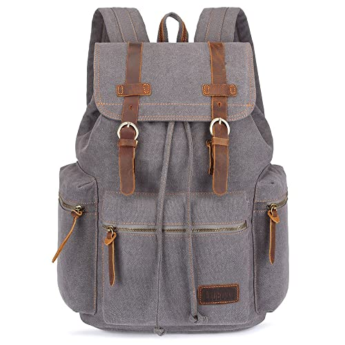 BLUBOON Canvas Vintage Backpack Leather Trim Casual Bookbag Men Women Laptop  Travel Rucksack 54f177ad34a15