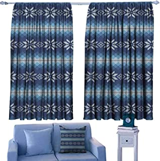 Mannwarehouse Winter Heat Insulation Curtain Traditional Scandinavian Needlework Inspired Pattern Jacquard Flakes Knitting Theme for Living, Dining, Bedroom (Pair) 72