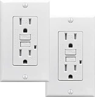 PROCURU 2 Pack - 15A Tamper Resistant GFCI Receptacle Outlet with LED Indicator with Wall Plate and Screws, White - UL Listed (2-Pack)