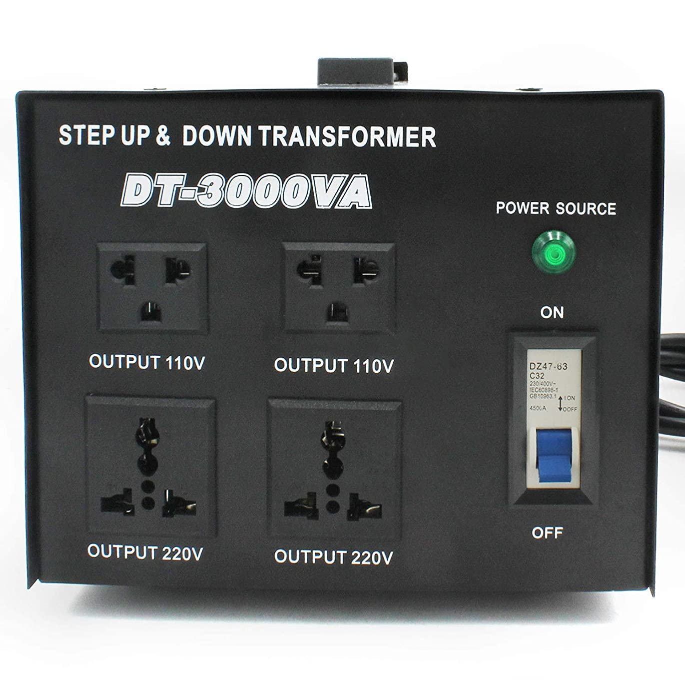 LVYUAN(リョクエン)アップトランス ダウントランス【電圧安定装置】【 海外機器対応 変圧器】【220V地域向け/3000W】DT-3000VA トランスターユニバーサル 100/110 Volt - 220/240 Volt