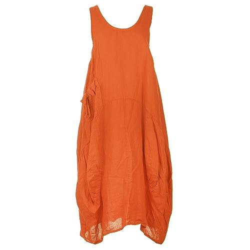 9aabe3e4a8 TEXTURE Ladies Women Italian Lagenlook Plain Sleeveless One Pocket Linen  Midi Dress One Size Plus Blue