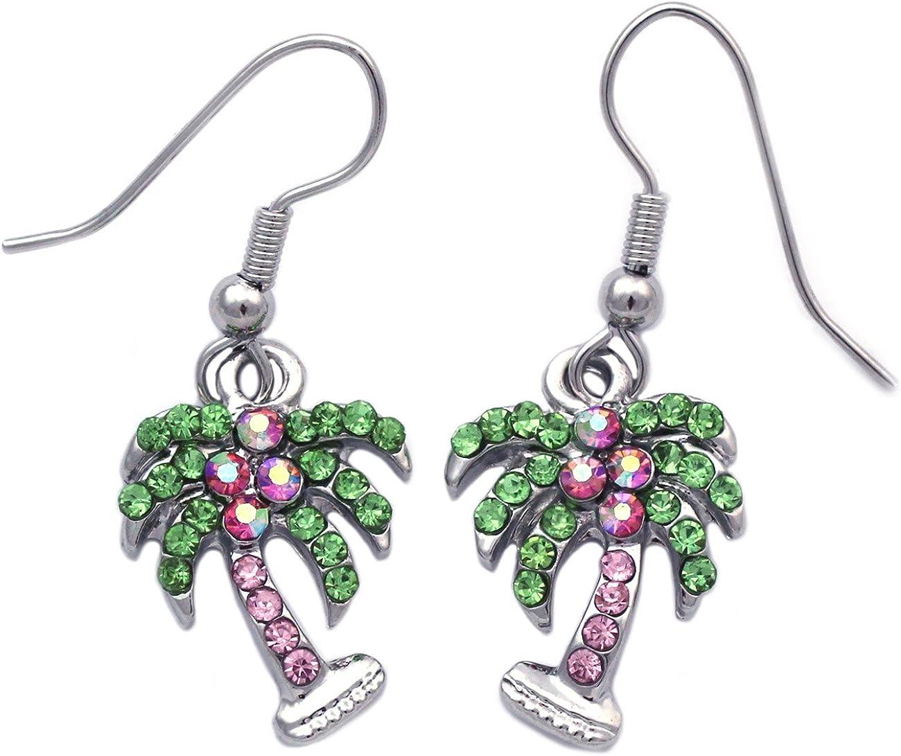 cocojewelry Green Palm Tree Charm Dangle Drop Hook Stud Post Earrings Jewelry