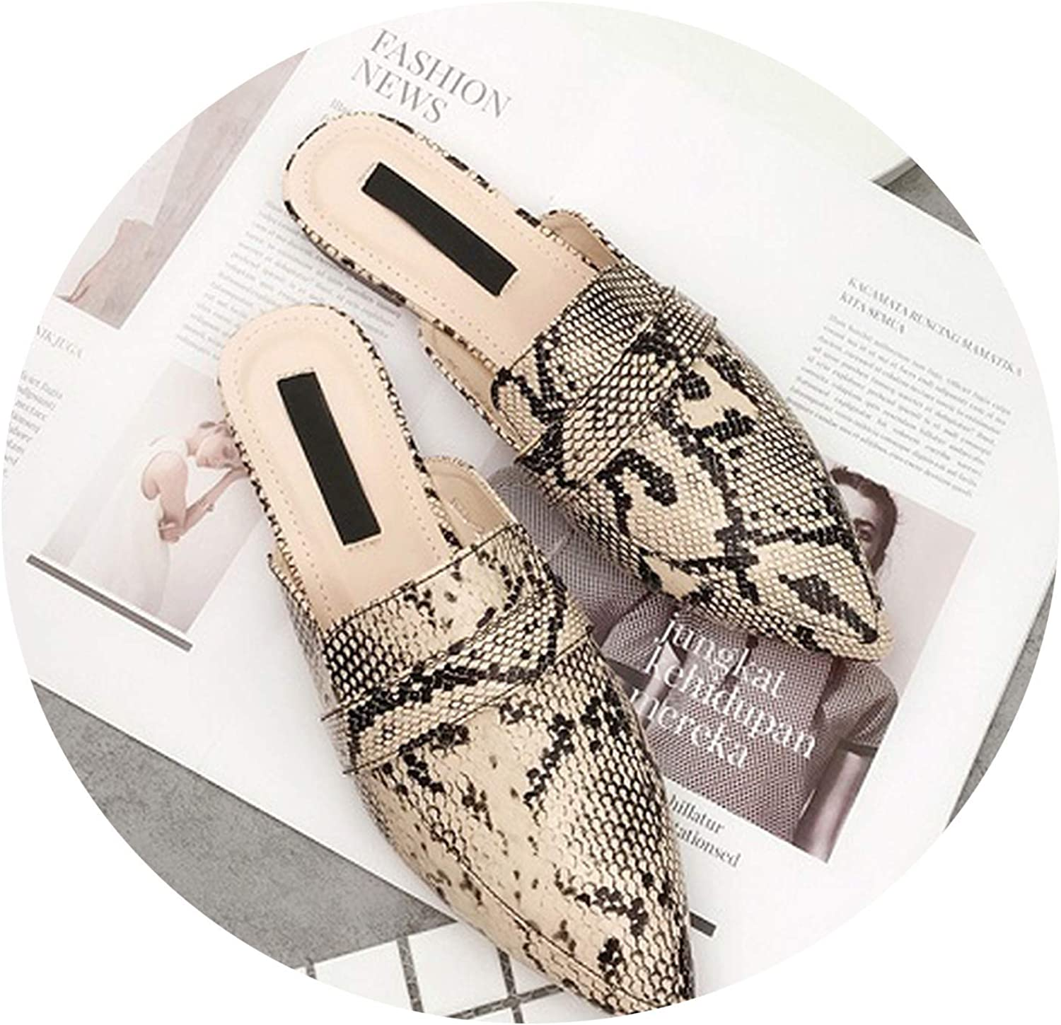 Monicas-house New Flat Heel Mules Slippers Women Snake Pointed Toe Mules shoes Woman Slides Cozy Slippers