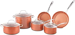 Nuwave Copper 10 Piece Ceramic Duralon Forged Cookware Set with Lids
