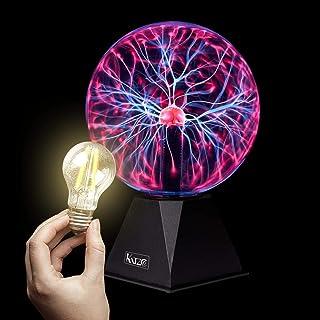 Katzco Red Plasma Ball with Scientific Lightning Charged Bulb - 2 Piece Kit - 8 Inch Reactive Lamp, Nebula, Lightning, Plu...