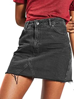 CHOiES record your inspired fashion Women's Black High Waist Distressed Ripped Aline Mini Denim Skirt XL