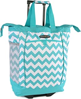 Large Rolling Shopper Tote Bag, Chevron Teal