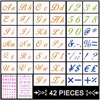 Letter Stencils, 42 Pack DIY Alphabet Templates, Alphabet Stencils Reusable Plastic Art Craft Stencils with Numbers, Calligraphy Font Upper and Lowercase Letters