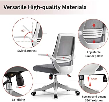 SIHOO Ergonomic Office Chair, Swivel Desk Chair Height Adjustable Mesh Back Computer Chair with Lumbar Support, 90° Flip-up A
