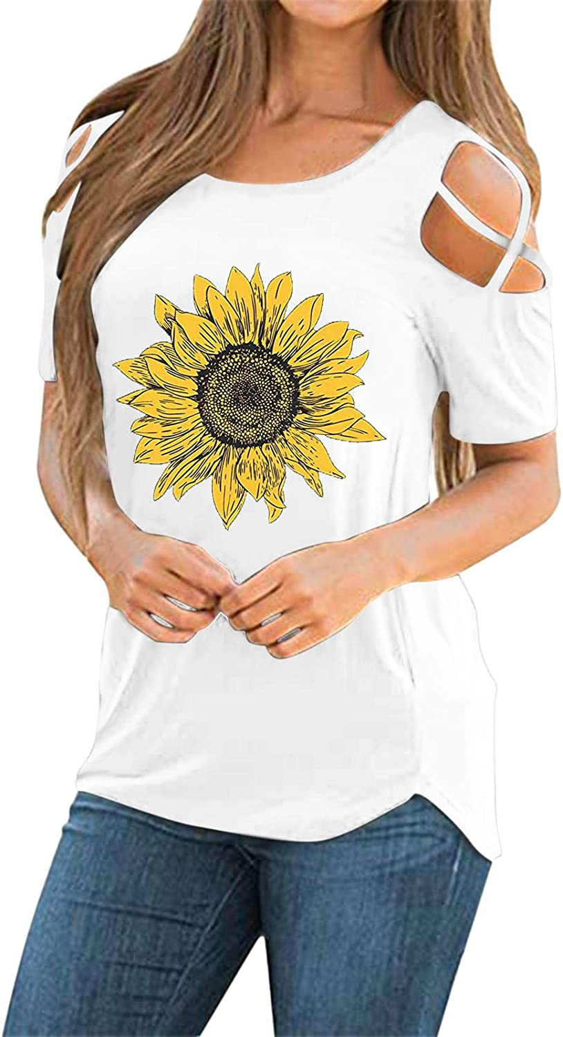 Summer Tops for Women,Womens Short Sleeve Crewneck T Shirts Tees Casual Loose Fit Strappy Cold Shoulder Tshirts Tops