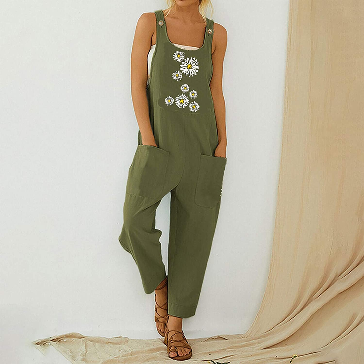 Womens Summer Fashion Casual Ethnic Style Printed Button Pocket Loose Suspenders Overalls Trousers Jumpsuit Romper Pants