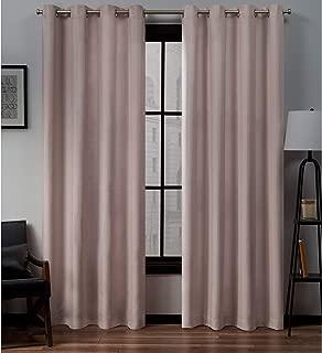 Exclusive Home Curtains Loha Linen Grommet Top Curtain Panel Pair, 52x84, Blush